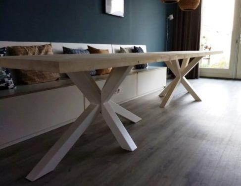 Steigerhouten tafel dubbele kruispoot 1