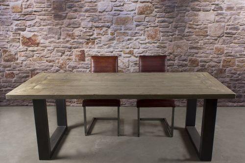 28636 steigerhouten metaal u poot tafel 1