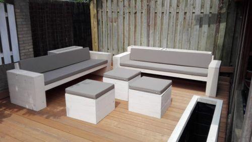 Steigerhouten loungebank set 1