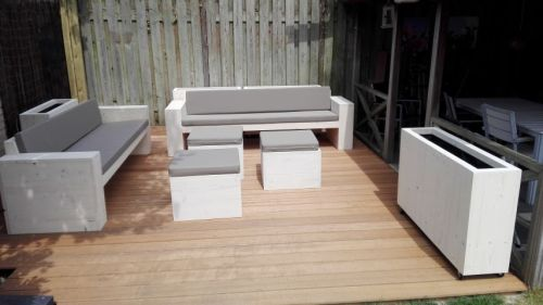 Steigerhouten loungebank set 1