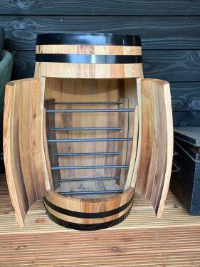 28750 wijnkast 150 liter zwarte banden met deur 1