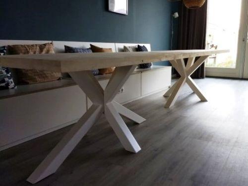 Steigerhouten tafel dubbele kruispoot