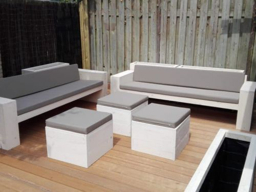 Steigerhouten loungebank set